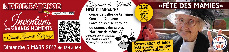 Fête des grands-meres en Camargue à LA TABLE à RALLONGE